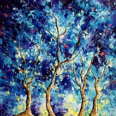 Nature Oil Art Painting title Blue Winter 2 by artist Bahadur Singh