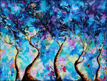 Nature Oil Art Painting title Blue Winter by artist Bahadur Singh