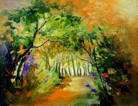 Landscape Oil Art Painting title Inside Nature by artist Bahadur Singh