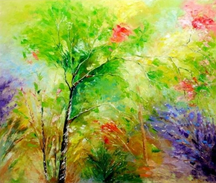 Bahadur Singh | Oil Painting title Nature 4 on Canvas | Artist Bahadur Singh Gallery | ArtZolo.com