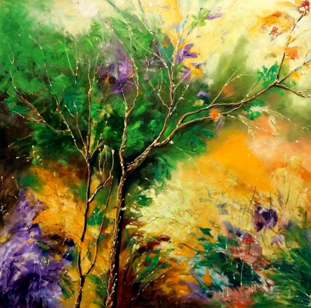 Landscape Oil Art Painting title 'Nature 1' by artist Bahadur Singh