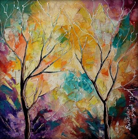 Nature Oil Art Painting title Nature 6 by artist Bahadur Singh