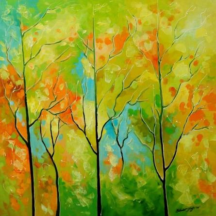 Nature Oil Art Painting title Nature VIII by artist Bahadur Singh