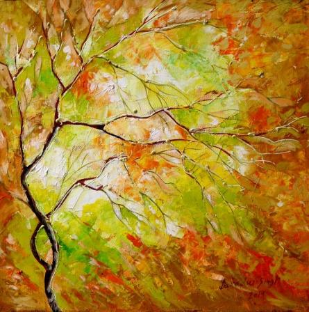 Bahadur Singh | Oil Painting title Orange Nature on Canvas | Artist Bahadur Singh Gallery | ArtZolo.com
