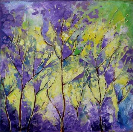 Nature Oil Art Painting title 'Purple Haze' by artist Bahadur Singh
