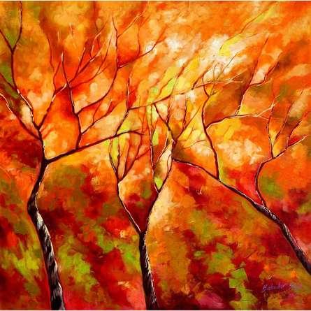 Nature Oil Art Painting title Seasons IX by artist Bahadur Singh