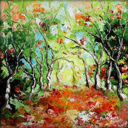 Nature Oil Art Painting title Seasons 134 by artist Bahadur Singh
