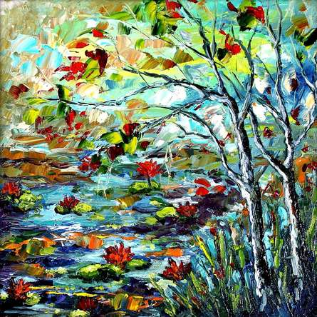 Nature Oil Art Painting title 'Seasons 135' by artist Bahadur Singh