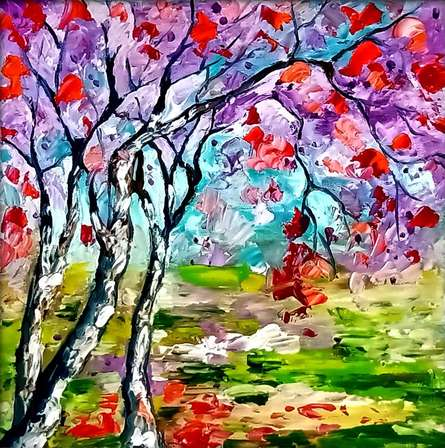 Nature Oil Art Painting title Seasons 136 by artist Bahadur Singh