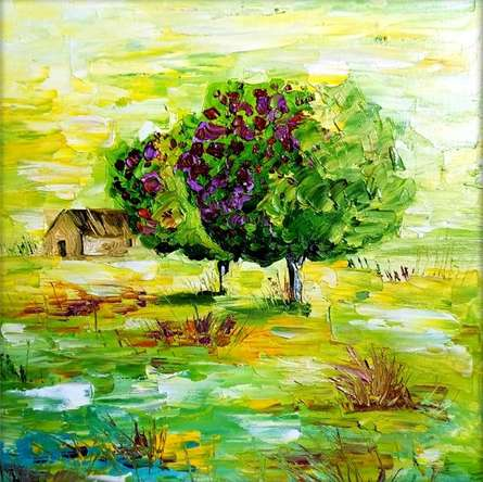 Nature Oil Art Painting title Seasons 139 by artist Bahadur Singh