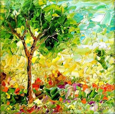 Nature Oil Art Painting title Seasons 140 by artist Bahadur Singh