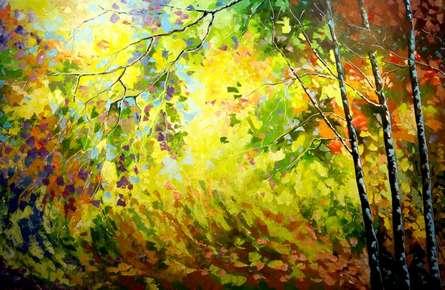 Landscape Oil Art Painting title 'Seasons 4' by artist Bahadur Singh