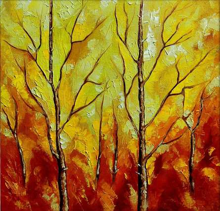 Nature Oil Art Painting title Season Olive by artist Bahadur Singh