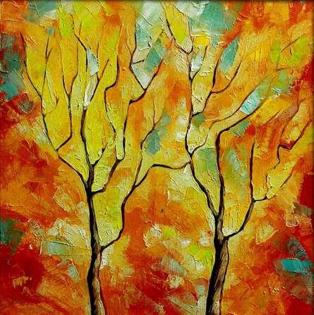 Season Orange   Painting by artist Bahadur Singh   oil   Canvas