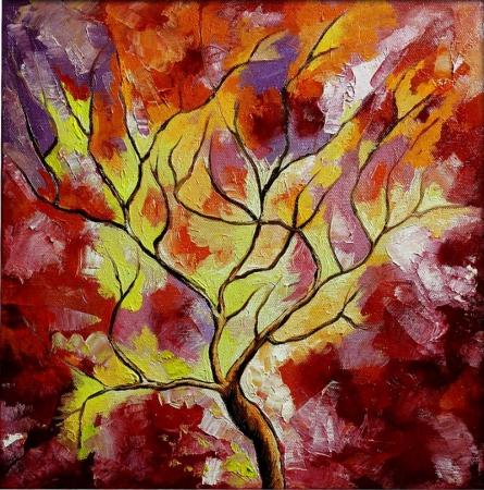 Season Fuschia   Painting by artist Bahadur Singh   oil   Canvas