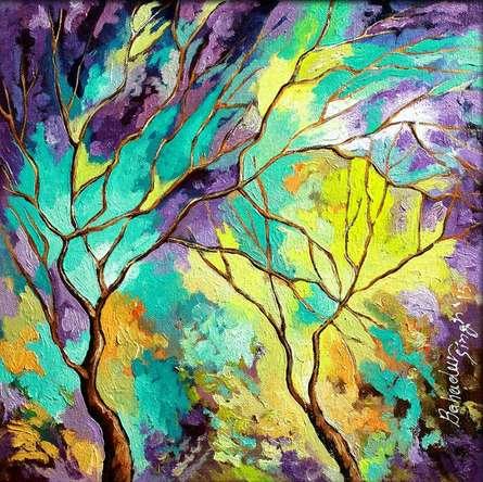 Season Turquoise | Painting by artist Bahadur Singh | oil | Canvas