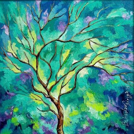 Nature Oil Art Painting title 'Season Lovat' by artist Bahadur Singh