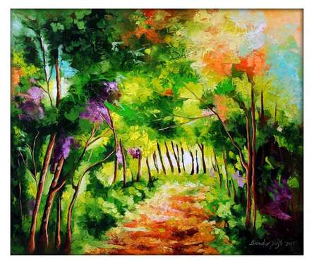 Bahadur Singh Paintings | Nature Painting - The Path Through Change III by artist Bahadur Singh | ArtZolo.com