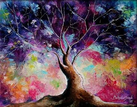 Nature Oil Art Painting title 'Tree Of Life 7' by artist Bahadur Singh