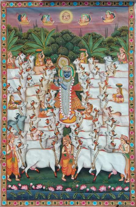 Traditional Indian art title Gopashtmi on Cloth - Pichwai Paintings