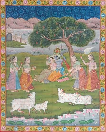 Traditional Indian art title Radha Krishna Jhula on Cloth - Pichwai Paintings