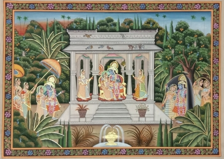 Traditional Indian art title Shree Krishna Radha on Cloth - Pichwai Paintings