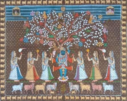 Traditional Indian art title Shreenath Ji Khajdi Tree on Cloth - Pichwai Paintings
