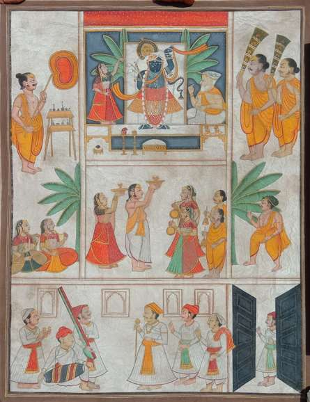 Traditional Indian art title Shreenathji Puja on Cloth - Pichwai Paintings