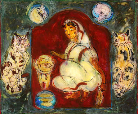 Figurative Mixed-media Art Painting title Mother by artist Subroto Mondal