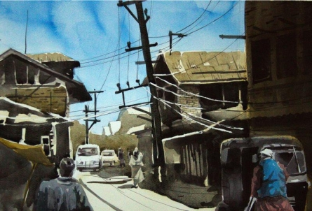 Landscape Watercolor Art Painting title 'Aab Rang Kashmir 05' by artist Suhail Naqshbandi