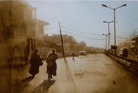 Landscape Watercolor Art Painting title 'Aab Rang Kashmir 06' by artist Suhail Naqshbandi