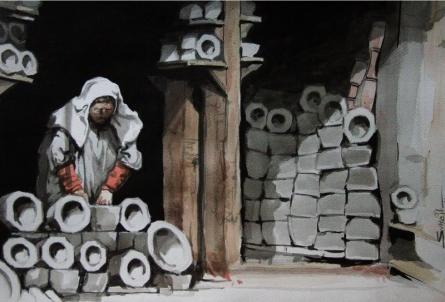 Landscape Watercolor Art Painting title 'Aab Rang Kashmir 11' by artist Suhail Naqshbandi