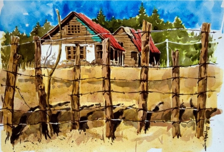 Landscape Watercolor Art Painting title 'Aab Rang Kashmir 13' by artist Suhail Naqshbandi