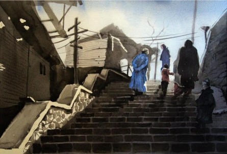 Landscape Watercolor Art Painting title Aab Rang Kashmir 15 by artist Suhail Naqshbandi