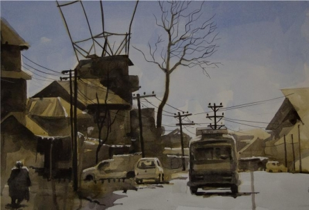 Landscape Watercolor Art Painting title 'Aab Rang Kashmir 16' by artist Suhail Naqshbandi
