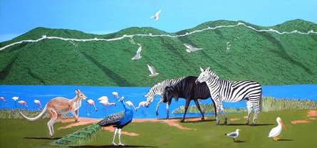 Animals Acrylic Art Painting title After Passed The Great Wall Of China by artist Ashikali Khan