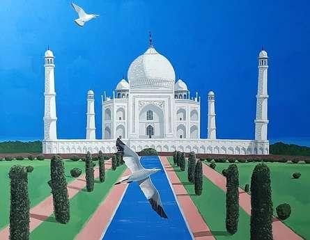 Cityscape Acrylic Art Painting title Two Alaskian Birds Visting To Taj by artist Ashikali Khan