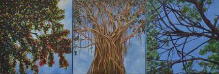Nature Oil Art Painting title The Story Of Three Trees by artist Saurab Bhardwaj