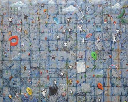 Saurab Bhardwaj | Acrylic Painting title Ascent (Urban Decay) on Canvas | Artist Saurab Bhardwaj Gallery | ArtZolo.com