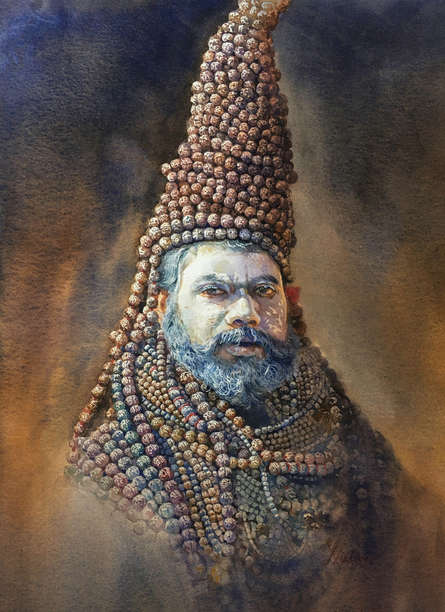 Religious Watercolor Art Painting title Indian Sadhu by artist Nishikant Palande