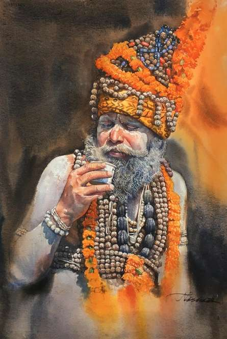 Religious Watercolor Art Painting title Sadhu by artist Nishikant Palande
