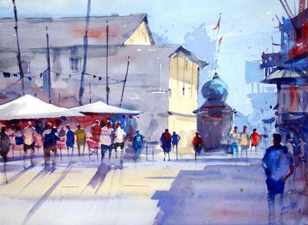 Ravhi Songirkaar | Watercolor Painting title At Signal on Paper | Artist Ravhi Songirkaar Gallery | ArtZolo.com
