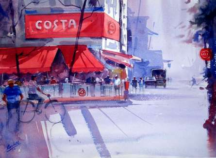 Cityscape Watercolor Art Painting title 'Coffee Time' by artist Ravhi Songirkaar