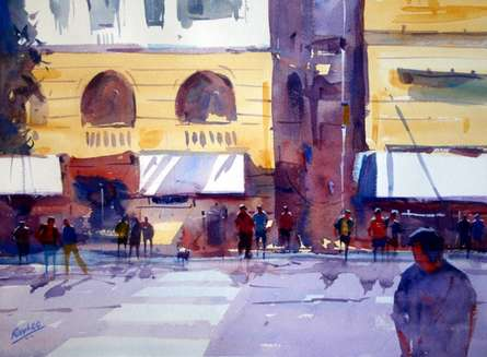Cityscape Watercolor Art Painting title 'Good Afternoon' by artist Ravhi Songirkaar