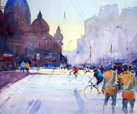 Cityscape Watercolor Art Painting title 'Two Bandwallha' by artist Ravhi Songirkaar