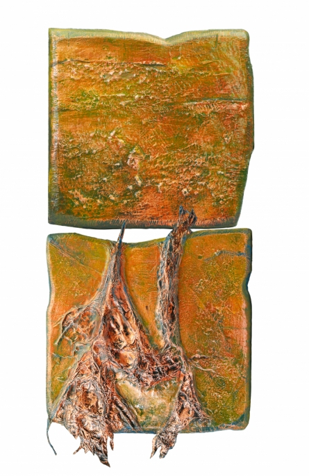 Mixed Media Painting titled 'Roots And Pathway 4' by artist Ami Patel on Copper