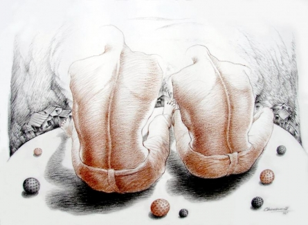 Expressionist Pencil Art Drawing title 'From The Top' by artist Chandranath Banerjee