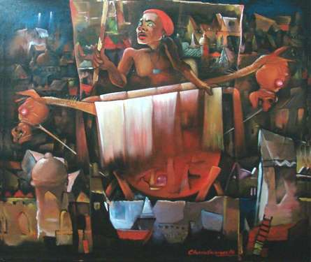 Lifestyle Acrylic Art Painting title 'For Discover' by artist Chandranath Banerjee