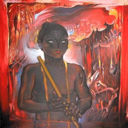 Surrealist Acrylic Art Painting title 'Krishna' by artist Chandranath Banerjee