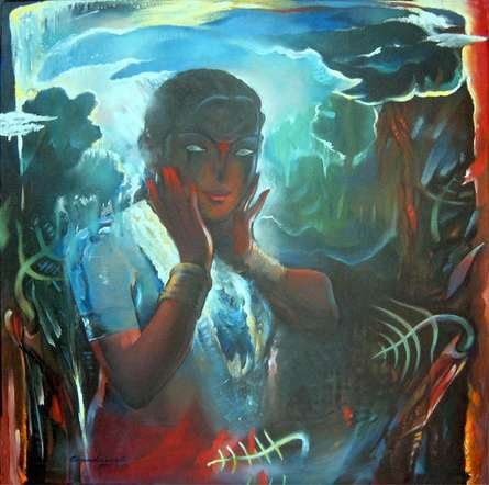 Surrealist Acrylic Art Painting title 'Lady III' by artist Chandranath Banerjee